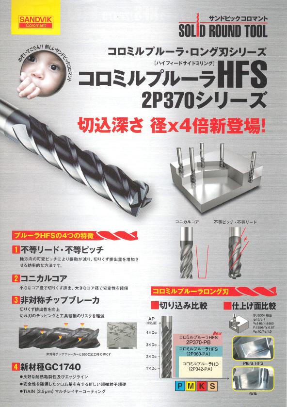 サンドビック(株) コロミルプルーラHFS 2P370シリーズ 切込深さ径X4倍新登場!