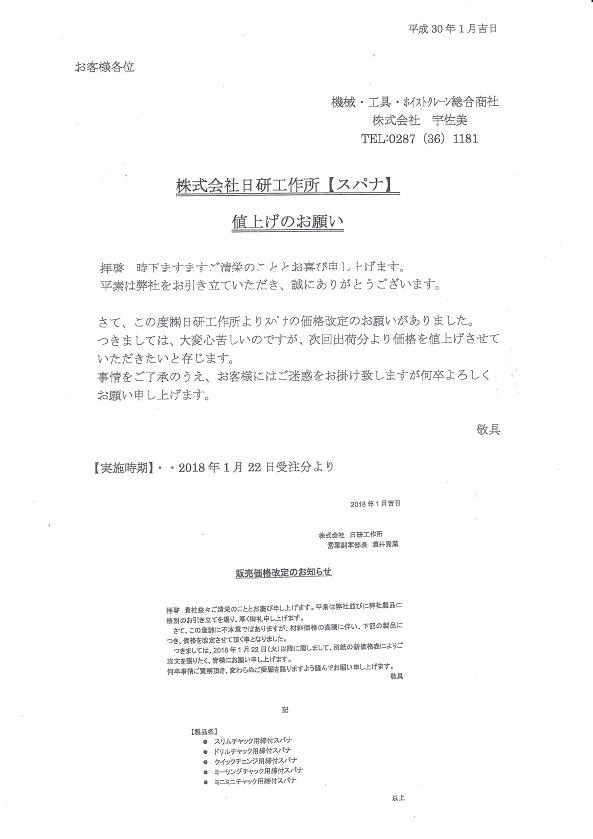 ㈱日研工作所【スパナ】価格改定のご案内